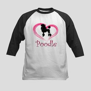 Heart My Poodle Kids Baseball Jersey