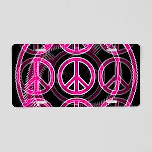 Pink Peace Symbols Aluminum License Plate