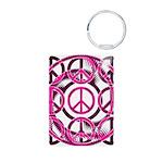 Pink Peace Symbols Aluminum Photo Keychain