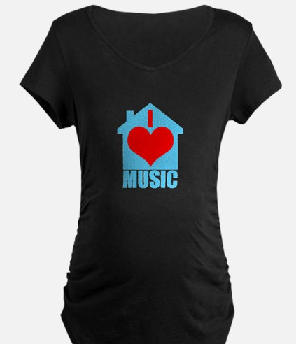 I Love House Music - House silhoutte Maternity T-S