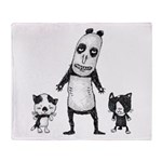 Panda and cats Throw Blanket