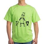 Panda and cats Green T-Shirt