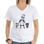 Panda and cats Women's V-Neck T-Shirt