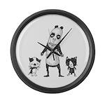 Panda and cats Large Wall Clock