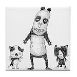 Panda and cats Tile Coaster
