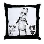 Panda and cats Throw Pillow