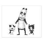 Panda and cats Small Poster