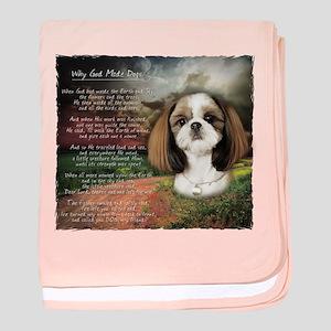 """Why God Made Dogs"" Shih Tzu baby blanket"