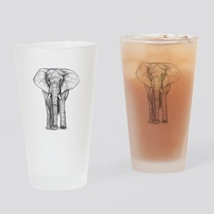 Elephant Drawing Drinking Glass