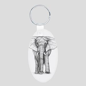 Elephant Drawing Aluminum Oval Keychain
