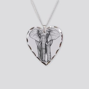 Elephant Drawing Necklace Heart Charm