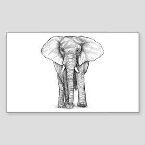 Elephant Drawing Sticker (Rectangle)