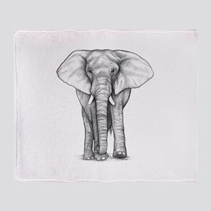 Elephant Drawing Throw Blanket