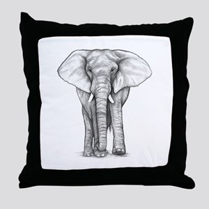 Elephant Drawing Throw Pillow