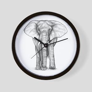 Elephant Drawing Wall Clock