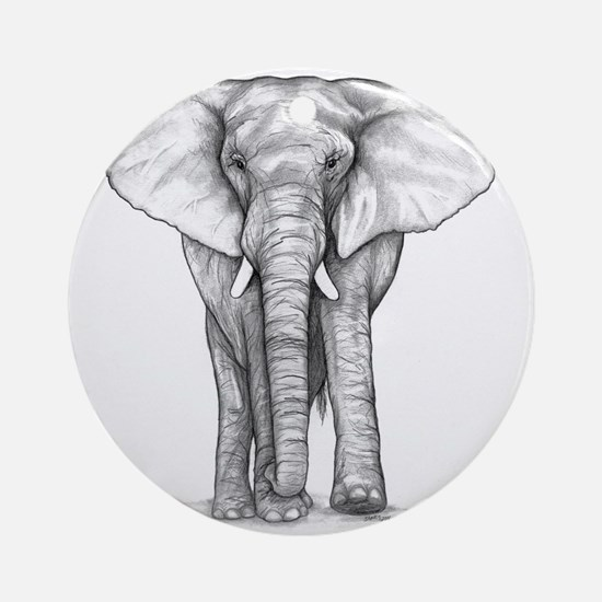 Elephant Drawing Ornament (Round)