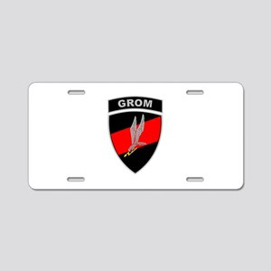 GROM - Red and Black w Tab Aluminum License Plate