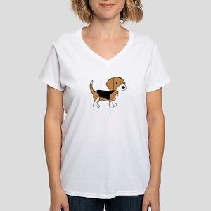 Cute Beagle Women's V-Neck T-Shirt