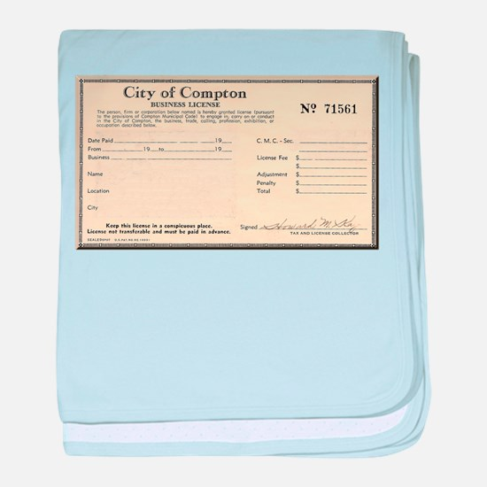 Compton Business License baby blanket