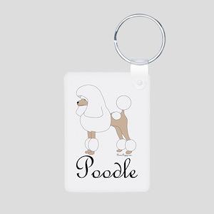 White Poodle Aluminum Photo Keychain