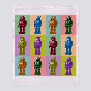 Pop Art Robots Throw Blanket