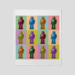 Pop Art Robots Throw Blanket