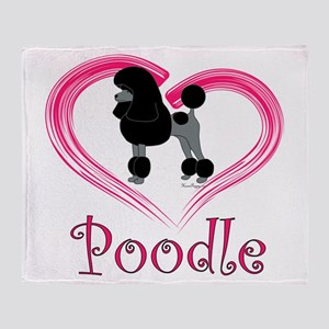 Heart My Poodle Throw Blanket