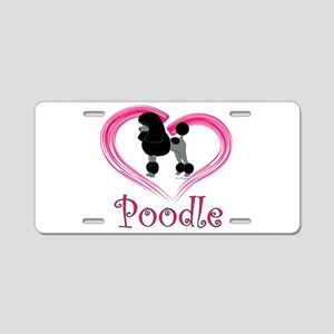 Heart My Poodle Aluminum License Plate