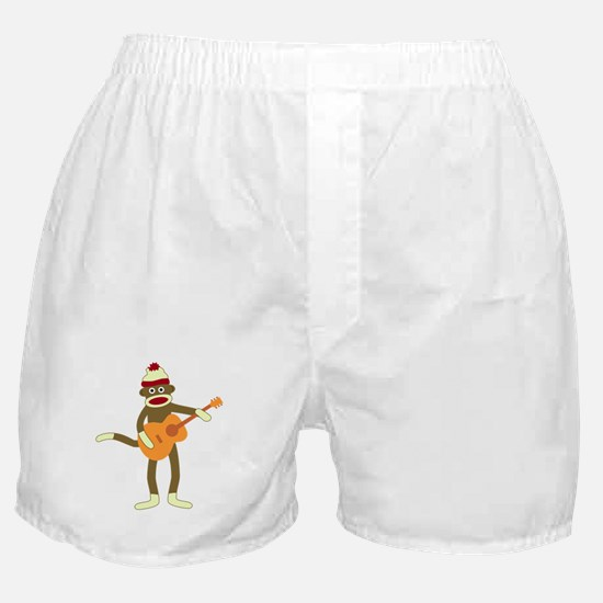 Sock Monkey Acoustic Guitar Boxer Shorts