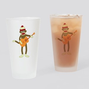 Sock Monkey Acoustic Guitar Drinking Glass