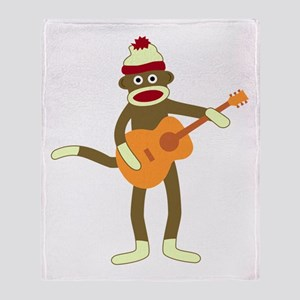 Sock Monkey Acoustic Guitar Throw Blanket