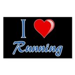 I Heart Running Sticker (Rectangle)
