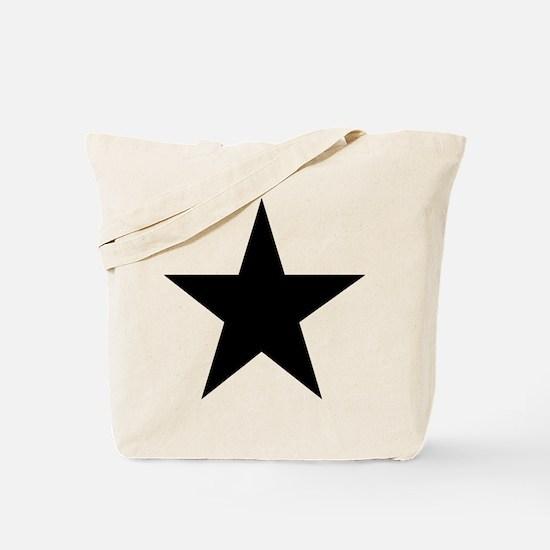 Black 5-Pointed Star Tote Bag