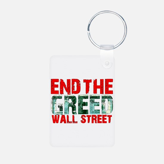 End The Greed Wall Street Keychains