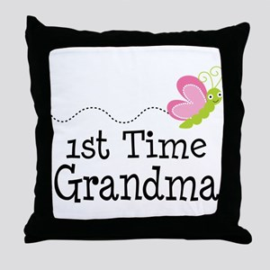 1st Time Grandma Butterfly Throw Pillow