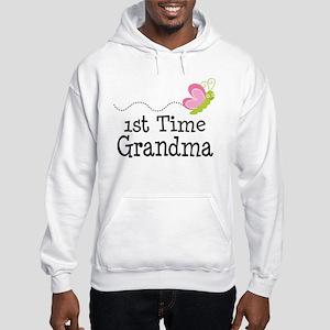 1st Time Grandma Butterfly Hooded Sweatshirt