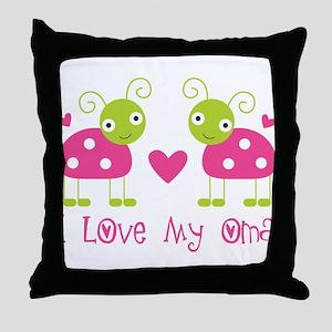 I Love Oma Ladybug Throw Pillow