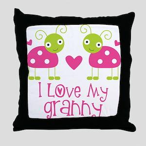 I Love Granny Ladybug Throw Pillow