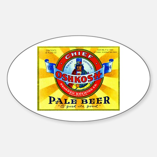 Wisconsin Beer Label 16 Sticker (Oval)
