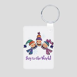Soy to the World Aluminum Photo Keychain