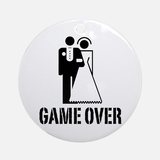 Game Over Bride Groom Wedding Ornament (Round)