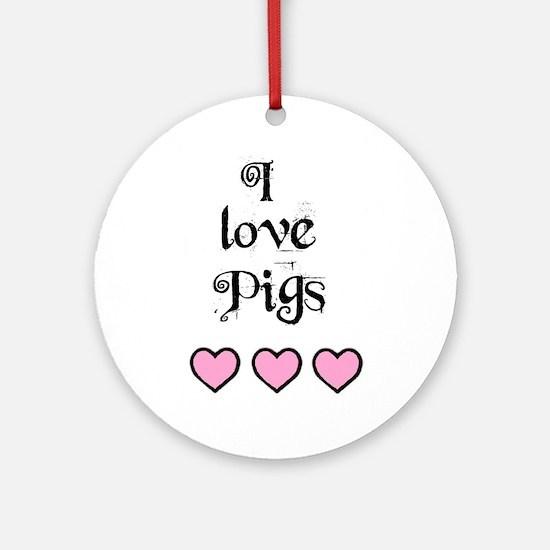 I LOVE PIGS 3 HEARTS Keepsake (Round)