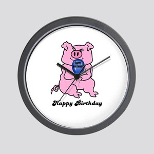 HAPPY BIRTHDAY PINK PIG Wall Clock
