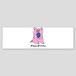 HAPPY BIRTHDAY PINK PIG Bumper Sticker