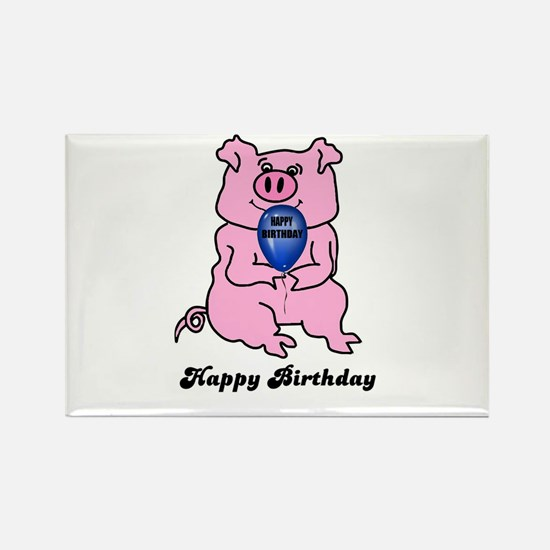 HAPPY BIRTHDAY PINK PIG Rectangle Magnet