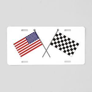 American-Checker Flag Aluminum License Plate