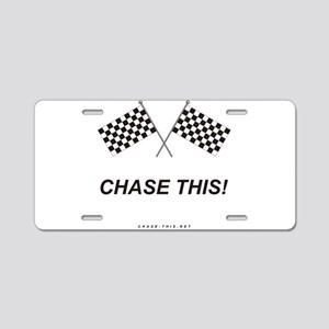 Checker Flag Chase This Aluminum License Plate