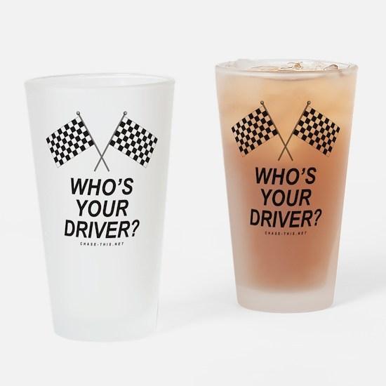 Checker Flag Driver Drinking Glass