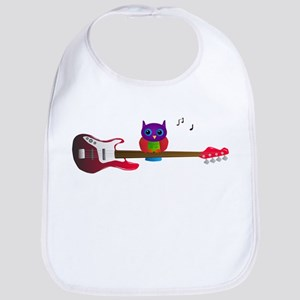 Pink owl with guitar Bib