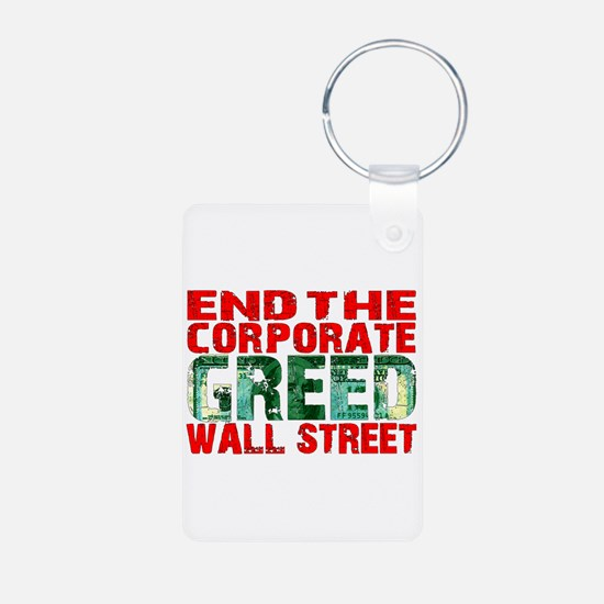 End The Corporate Greed Wall St. Keychains